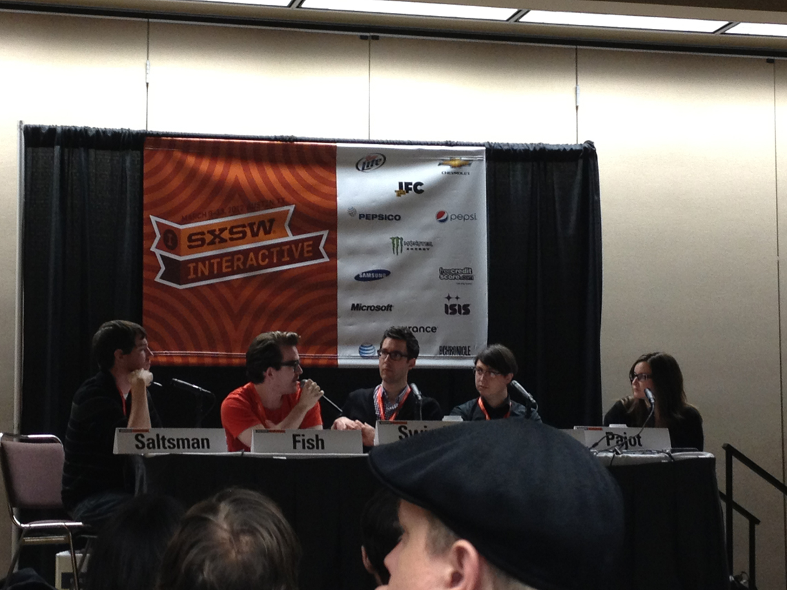 super interesting panel on something something indie games something, James and Lisanne from IGTM, the shockingly erudite and entertaining Adam Saltzman of Canabalt fame, Phil Fish of Canceling Fez II fame, and the awesome Wiley Wiggins who was also a really nice and intimidatingly interesting guy to chat with