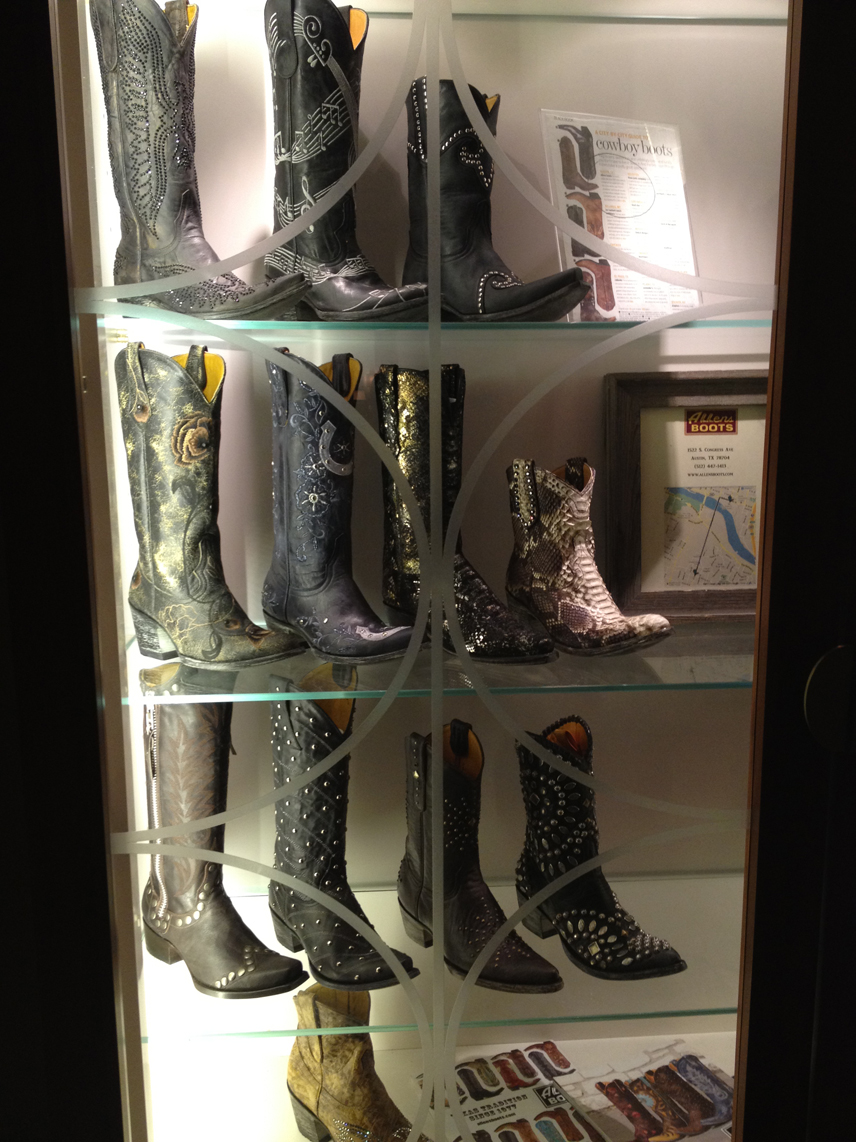"Had a meeting with TIFF International Film Programmer Jane Schoettle while in Austin, saw this hilarious fancy cowboy boot display in the swank hotel. FWIW, a 10' tall and ankle-length fur-coat wearing Billy Corgan of the Smashing Pumpkins walked in and sat down next to us w/his entourage. 14yr old me would have been super stoked, 31 yr old me was just like ""holy shit billy corgan is stupid tall""."